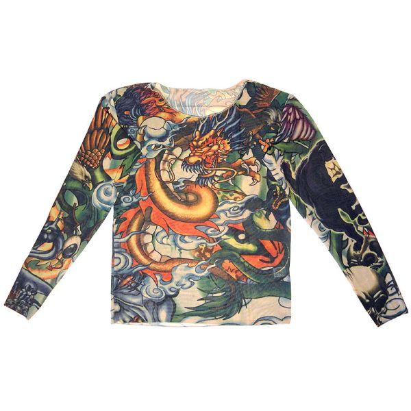 Tattoo-Shirt 'Panther & Dragon' mit vollflächigem farbigen Druck