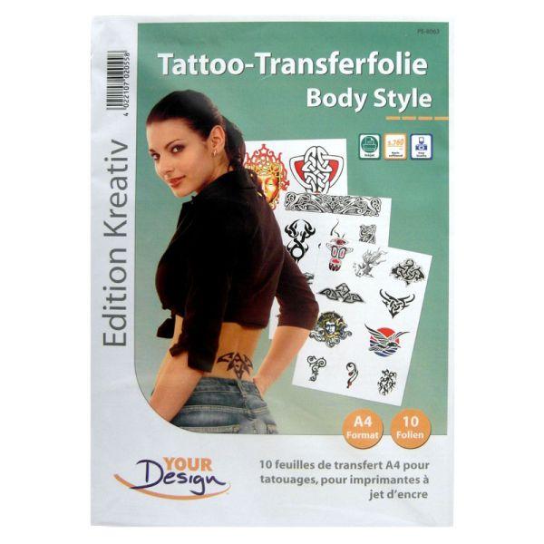 Tattoo-Transferfolie für Funtattoos zum Selbermachen, 10 Folien