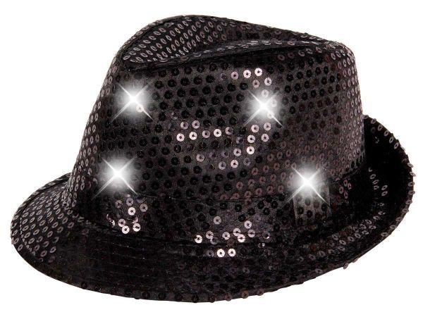 Pailettenhut in schwarz mit Leucht-LED