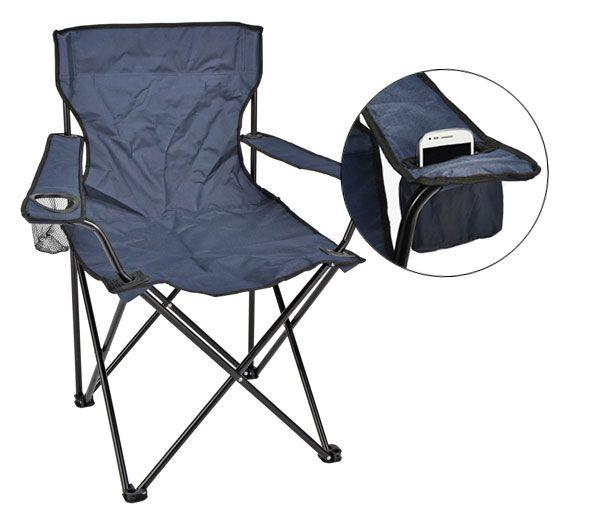 Campingstuhl mit Halterung für Smartphone, Snacks und anderen Kleinkram
